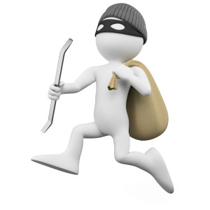 Thief running with a crowbar and a sack. Rendered at high resolution on a white background with diffuse shadows.
